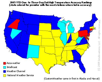 United States map showing where weather forecasters had the most sites ranked number one in high temperature accuracy for one to three days out